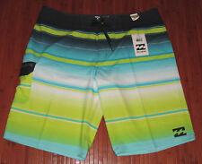Billabong Platinum X All Day Mens Lime Blue Green Stripes Boardshorts 38 New