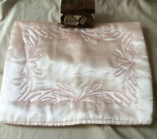 Vintage 1950's Quilted Pink Satin Nylons Stockings Lingerie Travel Bag Pouch