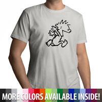 Calvin & Hobbes Running Naked - Mens 100% Cotton Unisex T-Shirt Short Sleeve Tee