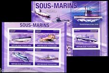 Submarines, Warships, Togo 2010 MNH Imperf MS+SS