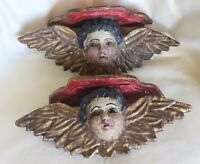 Antique Carved Gesso Wood Winged Angel Bust Colonial Shelf Sconce Pair Mexico