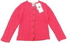 PETIT BATEAU girls pink Wool blend ARAN knit CARDIGAN 18/24M (86cm) BNWT