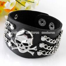 Punk Rock Men Bone Skull Link Chain Black Leather Bracelet Cuff Wristband Gothic