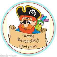 1 Pirate Themed Personalised Edible Sugar Icing Cake Decoration 19.1cm