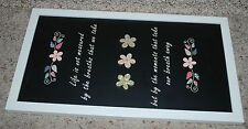 Home Decor Friends Life Saying Wall Sign Plaque Black White Floral FETCO 14