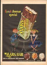 1954 Mars Bar Chocolate Nut Sundae Candy Boy and Girl PRINT AD