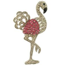 CRYSTAL PINK FLAMINGO BIRD PIN BROOCH MADE WITH SWAROVSKI ELEMENTS