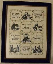 1800s Antique Embroidered Friendship Sewing Sampler in Frame