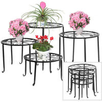 Wrought Iron 4 in 1 Metal Plant Stands Flower Pot Rack Holder Indoor/Outdoor