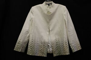 LINDA ALLARD ELLEN TRACY White/Beige Blazer, Womens Size 6 Petite, Macau-B15