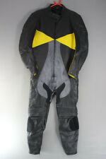 1 PIECE DYNAMIC LEATHERS BLACK, SILVER & YELLOW BIKER SUIT: CHEST 42/WAIST 36 IN