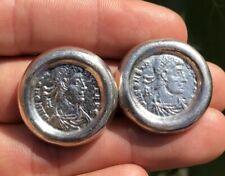 Vintage Designer Mexico Sterling Silver Roman Coins Design Clip Earrings