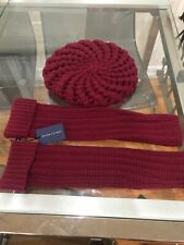 Ralph Lauren Kitted Hat And Arm Gloves Burgundy $250 MSRP NEW Cashmere Wool