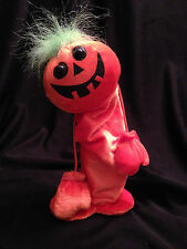 Halloween Orange Shiny Pumpkin Doll Plush Stuffed Pop Up Toy Dan Dee Decoration
