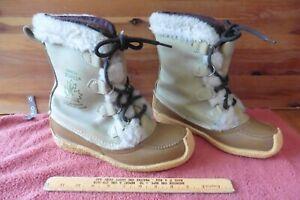 SOREL Women's Nanook Fur Trim Lace Up Leather Winter Snow Boots Sz 7 Wool lined