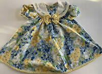 Vtg Toddler Girls Floral Yellow/blue Dress With White Collar Big Bow Dress