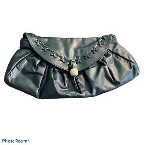 Leather Pleated Clutch Handbag Black 9x15x1 Unbranded Whipstitch Boho Bead biker