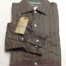 Caribbean Buttondown Linen Men Long Sleeve Shirt XL Dusty Brown $79.50 New