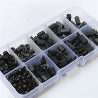 HOT 180X M3 Hex Nylon Spacers Screw Nut Male Female Stand-off Kits Set Box Black