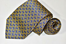 Men's DOLCEPUNTA 7 Fold Blue  100%Silk  Neck Tie made in Italy