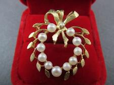 Vintage 14k Solid Yellow Gold Diamond And Pearl Brooch Intricate Detail