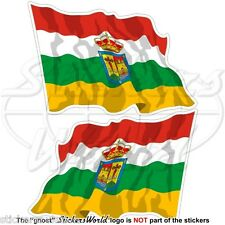 LA RIOJA Flying Flag SPAIN Comunidad Autónoma Spanish 120mm Stickers Decals x2