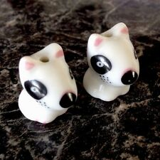 English Bull Terrier Puppy Ceramic Beads Finding x 2 for Earrings Pendants More