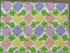 CRIB SHEET/FITTED/ FLANNEL-SMILING FROGS ON A PINK PURPLE YELLOW DIAMOND PRINT