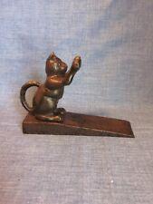 rustic sitting CAT cast iron metal shabby statue door stop stopper doorstop new