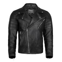 MENS VINTAGE CAFE RACER BLACK GENUINE LEATHER SLIM FIT RETRO BIKER SOFT JACKET