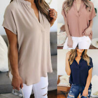 Women Casual Summer Chiffon Solid V-Neck Short Sleeve Loose Tops Blouse T-Shirt
