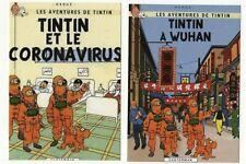 Lot 2 cartes postales pastiche TINTIN; Tintin à Wuhan...Un nouvel espoir 2020