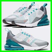 NEW Nike Air Max 270 Mens Trainers Size UK 6 - 12 Teal/Grey/White Sneaker Shoes