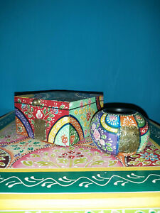 INDIAN HAND PAINTED DECORATIVE BOX WITH HAND PAINTED T-LIGHT HOLDER