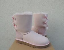 UGG SEASHELL PINK BAILEY BOW II METALLIC SHEEPSKIN BOOTS, US 9/ EUR 40 ~NIB
