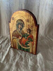 Griechische Ikone 19,5 x 26,5 cm Maria mit Kind
