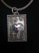 Sterling Heart Pendant with a Ruby Stone on a Sterling Snake Chain