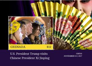 CHINA MEETS USA - PRES.XI & TRUMP FLORA-FAN-MASK MNH