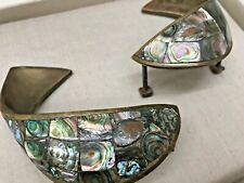 2 Los Castillos Fish Door/Drawer Pulls Brass w Abalone Mother of Pearl Mexico