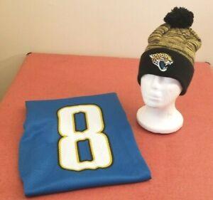 Jacksonville Jaguars NFL Starter Teal Mark Brunell #8 size46 Jersey & Winter Hat