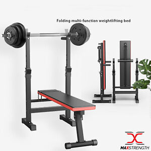 Adjustable Exercise Weight Bench Barbell Dip Stand Lifting Home Gym Workout benc