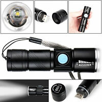USB Rechargeable Ultra Bright Waterproof LED Torch With Beam Focusing 4X Zoom