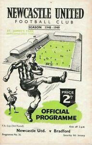 1948/9  Newcastle v Bradford Park Avenue (FA Cup)--VERY RARE