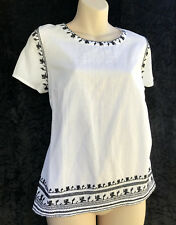 "REGATTA ""Marrakesh"" White Cotton Linen Blend Top Black Embroidery Boho sz 10 NWT"
