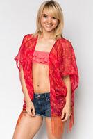 beach summer kaftan cardigan top red shrug shawl sheer red tassle ibiza