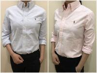 NEW  Ralph Lauren Women'S Long Sleeve  OXFORD Button Down Shirt CUSTOM FIT M L