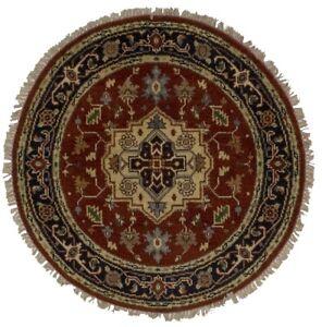 Hand Knotted Heriz Serapi 4X4 Geometric Design Round Rug Oriental Decor Carpet