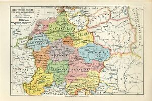 1895 GERMAN REICH and its NEIGHBOURING COUNTRIESin 919-1125 YEARS Antique Map