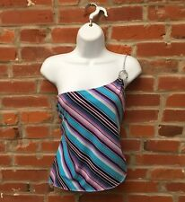 Vintage 90s 2000s One Shoulder Top Blue Purple Striped Womens (1621)