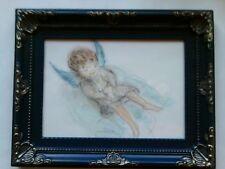 Schutzengel-Bild, handgem.,16 cm x 11,5cm, Original,mit blauem Rahmen 23x17,5 cm
